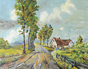 Farm Scenes Originals - Cottage On Poplar Lane by Mary Ellen Anderson