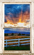 Office Space Metal Prints - Country Beams Of Light Barn Picture Window Portrait View  Metal Print by James Bo Insogna
