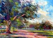 Cycling Art Paintings - Country Lane by Mark Hartung