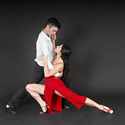 Dancer Art Posters - Couple dances tango  Poster by Ilan Rosen