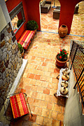 Tiled Prints - Courtyard of a villa Print by Elena Elisseeva