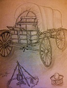 Wagon Wheels Drawings - Covered Wagon by Irving Starr