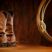 Roping Framed Prints - Cowboy Boots and Lasso Lariat Framed Print by Olivier Le Queinec