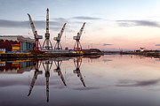 Glasgow Finnieston Crane Framed Prints - Cranes on the Clyde  Framed Print by John Farnan