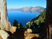 Autumn Photographs Mixed Media Prints - Crater Lake National Park Print by Photography Moments - Sandi
