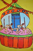 Carousel Art Painting Originals - Crazy carousel by Maria Kagan