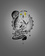 Original Owl Drawing Prints - Crazy Horse Print by Pop Culture Prophet
