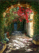 Entrance Door Painting Framed Prints - Crimson Canopy Framed Print by Doug Kreuger