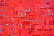 Machinery Painting Posters - Crimson Query Poster by Regina Valluzzi