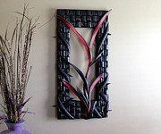 Upcycled Art Sculptures - Crimson Vine by Michael Ediza
