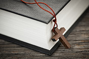 Necklace Photo Framed Prints - Cross and Bible Framed Print by Elena Elisseeva
