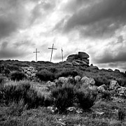 Black And White Landscape Photograph Posters - Cross Poster by Bernard Jaubert