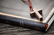 Religion Art - Cross on Bible by Elena Elisseeva