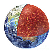 Core Prints - Cross Section Of Planet Earth Showing Print by Leonello Calvetti