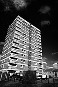60s. 1960s Framed Prints - cuchulainn house one of the 60s new lodge tower blocks social housing in north Belfast Northern Irel Framed Print by Joe Fox