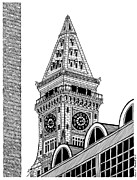 Boston Ma Drawings Framed Prints - Custom House Tower Framed Print by Conor Plunkett