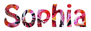 Custom Art - Customized Baby Kids Adults Pets Names - Sophia Name by Sharon Cummings