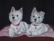 Westie Dog Paintings - 2 Cute by Anastasiya Malakhova