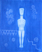 Goddess Birth Art Prints - Cycladic Goddess - right panel Print by Diana Perfect