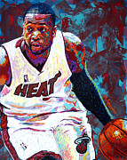 Basketball Painting Prints - D. Wade Print by Maria Arango