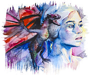 Play Mixed Media Prints - Daenerys Targaryen - game of thrones  Print by Slaveika Aladjova