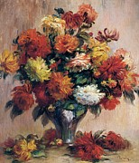 Tasteful Art Prints - Dahlias Print by Pierre-Auguste Renoir