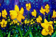 Perspective Paintings - Dancing Daffodils cropped  by John  Nolan