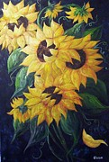 Golds Mixed Media Framed Prints - Dancing Sunflowers  Framed Print by Eloise Schneider