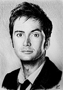 Mouth Drawings Posters - David Tennant Poster by Andrew Read