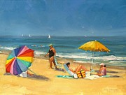 New England Coast Line Posters - Day at the Beach Poster by Laura Lee Zanghetti