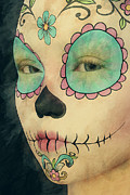 Character Portraits Digital Art Prints - Day of The Dead - Sugar Skull Portrait Print by Liam Liberty