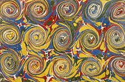 Yellow Tapestries - Textiles Prints - Decorative end paper Print by English School