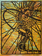 Linocut Prints - Derailluer Print by William Cauthern