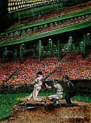 Baseball History Paintings - Derreks Homerun by Linda Simon