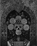 Turquoise Metal Prints - Dia De Muertos Madonna Metal Print by Ricardo Chavez-Mendez