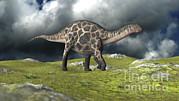 Three Dimensional Posters - Dicraeosaurus Walking Across A Field Poster by Kostyantyn Ivanyshen