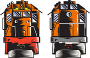 Woodcut Metal Prints - Diesel Train Front Rear Woodcut Retro Metal Print by Aloysius Patrimonio