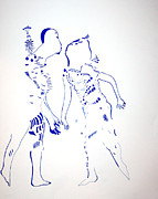 Gloria Drawings - Dinka Courtship - South Sudan by Gloria Ssali