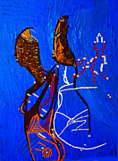 Dinka Paintings - Dinka Embrace - South Sudan by Gloria Ssali