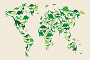World Map Print Digital Art Prints - Dinosaur Map of the World Map Print by Michael Tompsett