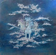 White Horses Mixed Media Prints - Distant Thunder Print by Christine Cholowsky
