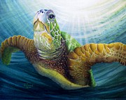 Green Sea Turtle Painting Metal Prints - Diving the Depths Metal Print by David Richardson