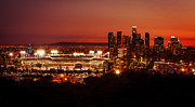 Dodger Stadium Photos - Dodger Stadium at Sunset by Linda Posnick