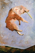 Dog At Play Print Posters - Dog Painting - Aint Life Grand by Barbara J. Hart Poster by Barbara J Hart