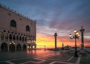 Italian Sunset Posters - Doges palace at sunrise Venice Italy Poster by Matteo Colombo
