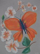 Insects Pastels Posters - Dogwood Butterfly Poster by Maria Urso - Artist and Photographer