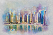 Downtown Painting Metal Prints - Downtown Dubai Skyline Metal Print by Corporate Art Task Force
