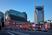 Clubs Photo Framed Prints - Downtown Nashville Framed Print by Brian Jannsen