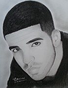 Signed Prints Drawings - Drake charcoal by Lance  Freeman