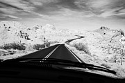 Windscreen Prints - Driving Along The White Domes Road In Valley Of Fire State Park Nevada Usa Print by Joe Fox